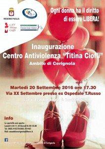 Centro Antiviolenza da Martedi'20 Settembre a Cerignola(Fg)