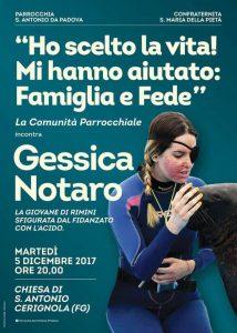 Gessica Notaro a Cerignola Ospite Della Comunita'di S.Antonio