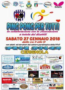 Tennis Tavolo Paralimpico A Cerignola il 27 e 28 Gennaio Al Pala''Di Leo''Di;Redazione Sport Speciale News Web 24